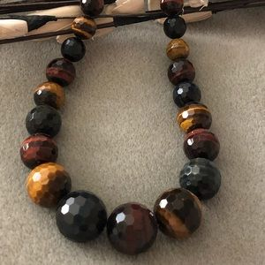 Jewelry - Tiger Eye Graduated Faceted Bead .925 Necklace 🌼